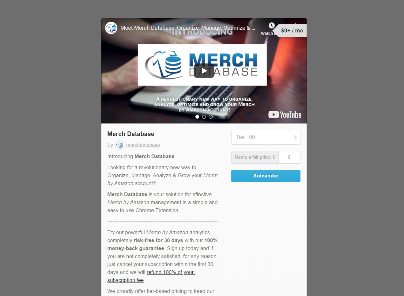 Screenshot of the Merch Database Gumroad Subscription page.